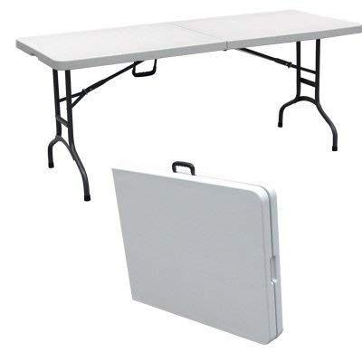 Palm Springs Deluxe 6' Portable Plastic Banquet Table White - Folds in Half by Palm Springs