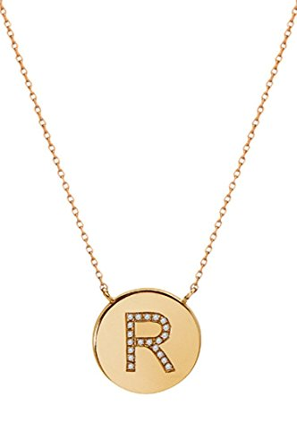 14k gold diamond initial disc necklace -