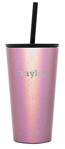 Simple Modern Personalized Gift Tumbler Custom, Classic 16oz - Straw & Flip Lid, Shimmer: Rose Quartz