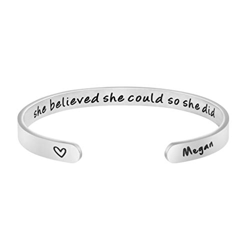 Awegift Personalized Name Bracelets for Women Inspirational Birthday Christmas Graduation Mother Day Jewelry Gifts for Her Megan from Awegift