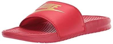 Nike Men's Benassi Just Do It Walking Shoe, University Red/Metallic Gold, 12 Regular US