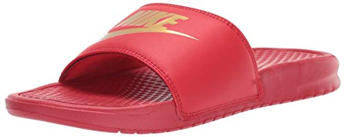 NIKE Men's Benassi Just Do It Athletic Sandal, University Red/Metallic Gold, 4 Regular US ()