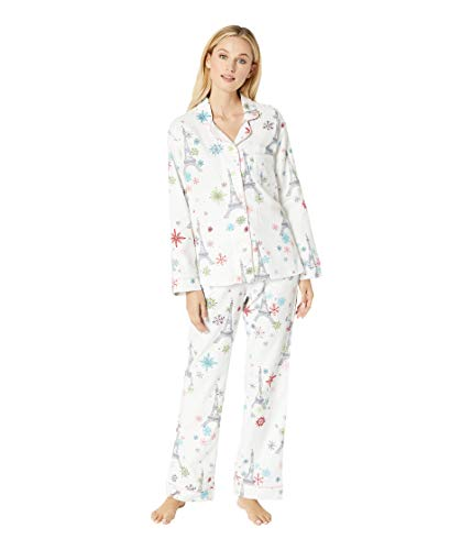 BedHead Women's Long Sleeve Classic Notch Collar Pajama Set Eiffel Snowflakes - Pajama Set Head Classic Womens Bed