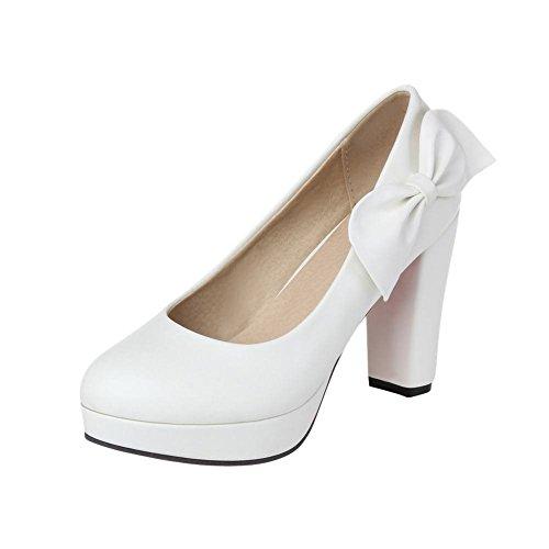 Carolbar Vrouwen Strikken Manchet Platform Bruids Bruiloft Elegantie Mode Dikke Hoge Hak Jurk Pumps Schoenen Wit