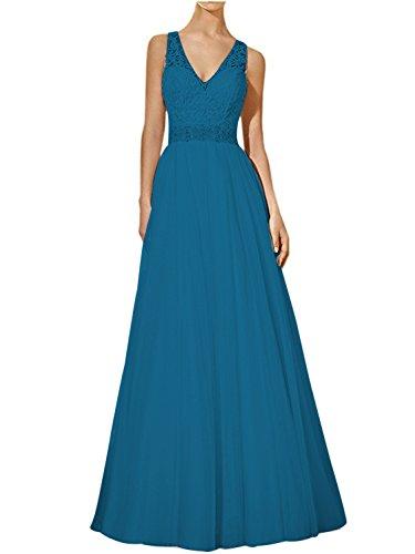 para trapecio oscuro mujer Vestido Topkleider azul q7w5E00