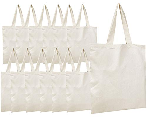 BagzDepot Canvas Tote Bags Wholesale - 12 Pack - Plain Cotton Tote Bags in Bulk, Reusable Bags for Decorating Crafts Bible Bookbag Blank Canvas Bags for Events Schools Sturdy Bags -