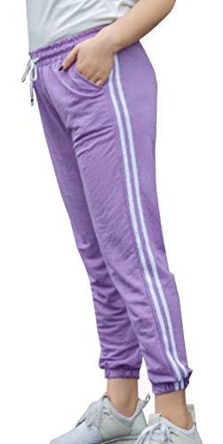 Simple Bende Casual Running Alunno Giovane Moda Pantaloni Fitness Larga Lunghi Alta Jogging Vita Taglia Viola Fashion a da Donna Pants r6tpqErnzw