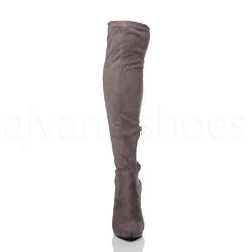 Damen Hohen Absatz Spitze Elastisch Schenkel Über Knie Overkneestiefel Größe Grau Wildleder