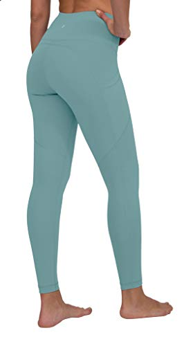 90 Degree By Reflex Power Flex Yoga Pants - High Waist Squat Proof Ankle Leggings with Pockets for Women - Azure Splash - Large