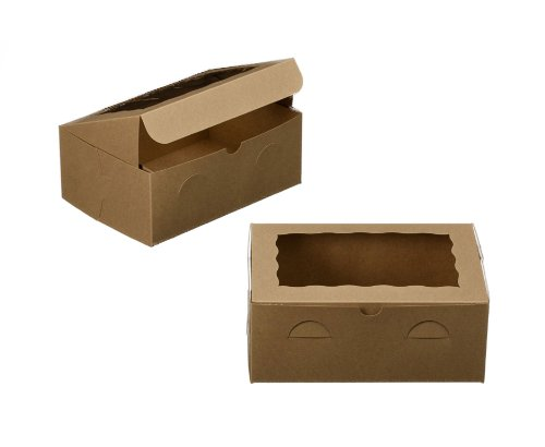 Dress My Cupcake Window Cupcake Box with Lid and Holder for 6 Skinny Mini Cupcakes, Brown, Set of 100