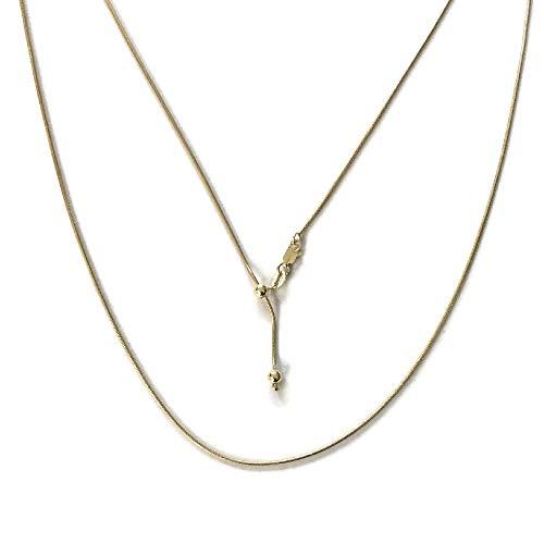 (My Prime Gifts 925 Sterling Silver 1.14MM Adjustable Slider Gold Vermeil Snake Chain Necklace 14-30