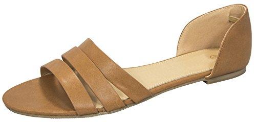 Cambridge Select Women's Casual Triple Strap Cut Out Comfort Flat Sandal (7 B(M) US, Camel) ()