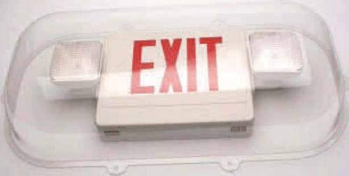 Polycarbonate Vandal/Environmental Bubble Shield Guard For Exit Signs & Emergency Light Combo Units