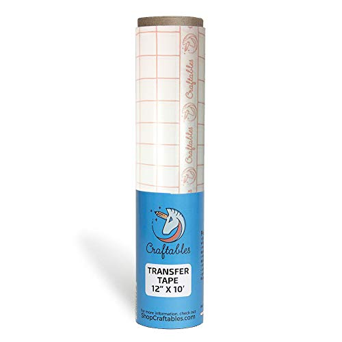 Craftables Clear Vinyl Transfer Paper Tape roll w/Alignment Grid and Easy Release Paper   12