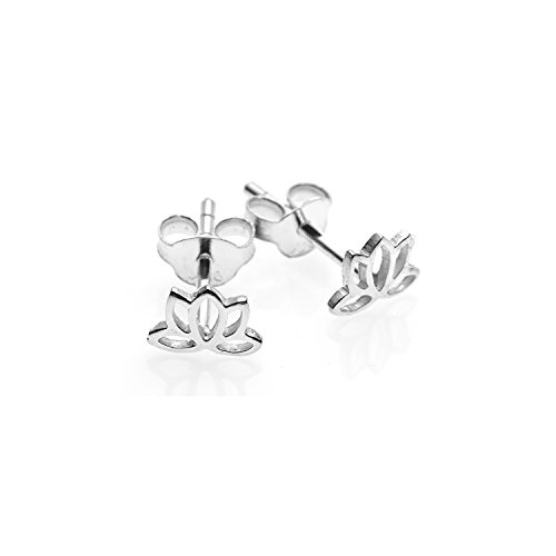 925 Sterling Silver Tiny Open Lotus Post Stud Earrings 12 mm - Nickel Free