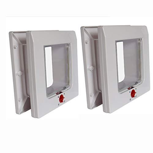 Full Two-Way Pet Door, Dog Door Cat Door Cat Hole Thickening Four-Way Locking Easy to Install, White,Double