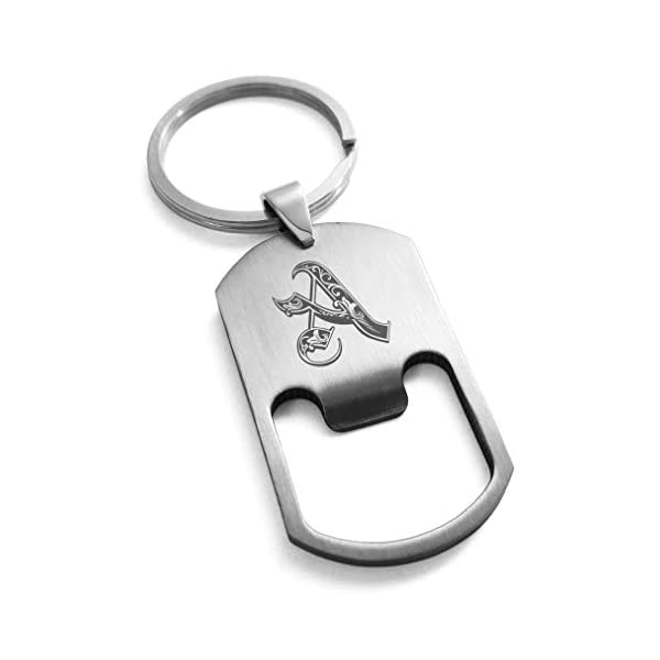 Tioneer Stainless Steel Alphabet Letter Initial Royal Monogram Engraved Bottle Opener Dog Tag Keychain Keyring