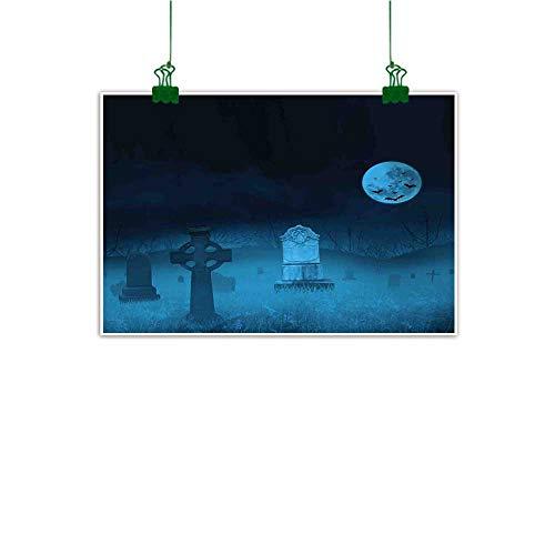 Anzhutwelve Wall Art Gothic,Ghostly Graveyard Illustration Horror Halloween Dead Danger Theme Full Moon Bat Mystery,Blue Abstract Art W 32