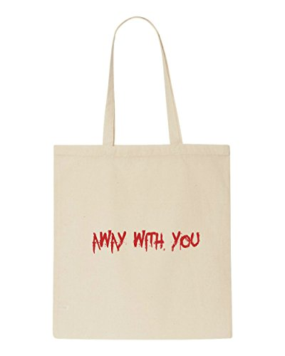 Away Tote Warning Quote Shopper Sign Zombie You Bag Beige Dead With rrwnqUgx