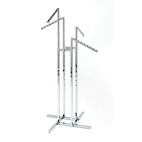 Clothing Rack - Heavy Duty Chrome 4 Way Rack, Adjustable Arms, Square Tubing, Perfect for Clothing Store Display With 4 Slanted Arms