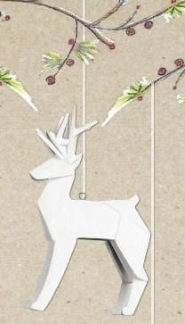 1 X One Hundred 80 Degrees Porcelain White Deer Ornament (White Ornaments Christmas Deer)