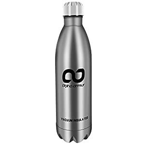 Alpha Armur 32 Oz (1L) Double Wall Vacuum Insulated Stainless Steel Flask Water Bottle with Narrow Mouth 1L Water Bottle Hydro Flask Cap Insulated Bottle Large, Silver