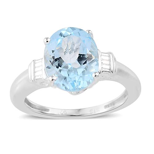 925 Sterling Silver Oval Sky Blue Topaz Solitaire Engagement Ring for Women Size 8 Cttw 2.5