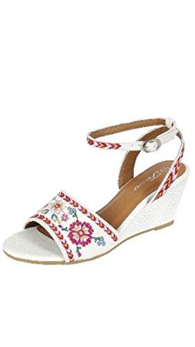 Forever Square-38 Womens Floral Embroidery Fibbia Cinturino Alla Caviglia Sandalo Con Zeppa Bianco