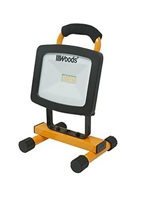 Woods WL40024 Portable LED Work Light On Steel H-Stand, 1500 Lumens, 16 Watts, 4000 Kelvin, 5 Foot Cord, Orange/Black