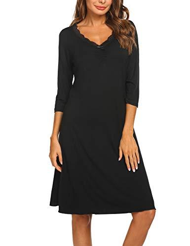 Ekouaer Pajamas Dresses for Women 3/4 Sleeve Nightgown Sleep Dress Lace Trim Nightdress Night Shirt (Black S) ()