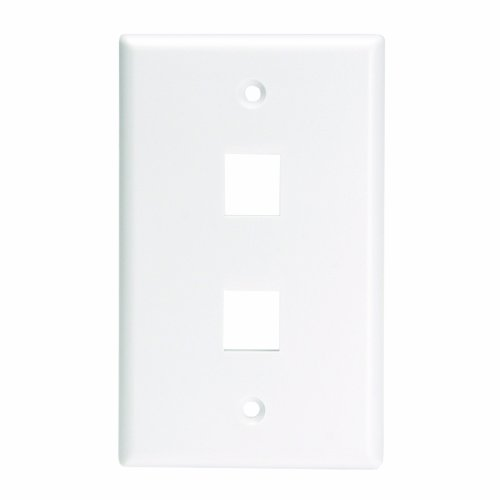 - Leviton 41080-2WL QuickPort Wallplate For Large Connectors, Single Gang, 2-Port, White