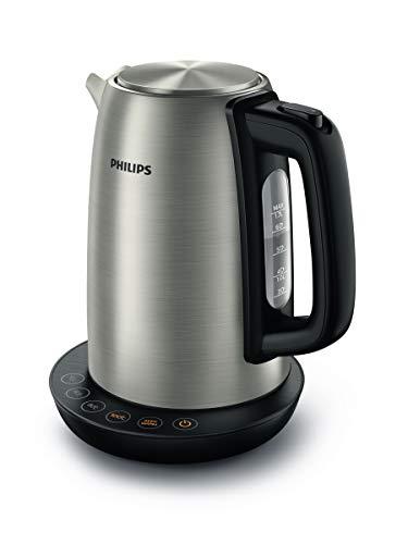 Philips Hervidora con Control de Temperatura HD9359/90, 2200 W, 1 7 litros, Acero Inoxidable, Negro, Metalico