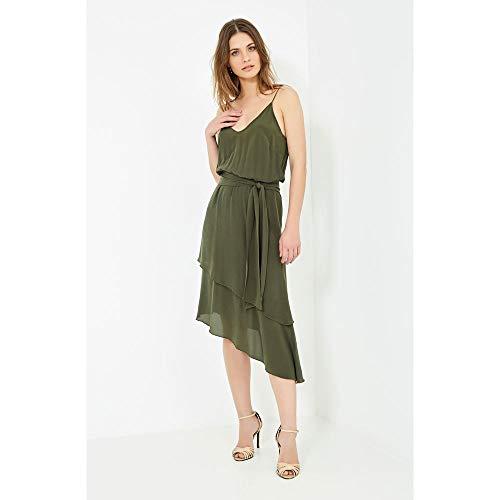 Vestido Irregular Micangas Verde Militar - 40