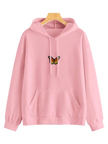 DIDK Women's Pocket Butterfly Patched Drawstring Hoodie Sweatshirt Pink M (Sweatshirt Butterfly)