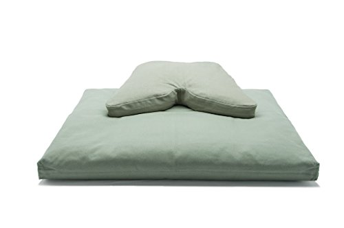 Sage Green Buckwheat Hull Regular Lift Cosmic Cushion & Cotton Batting Zabuton Meditation Cushion Set