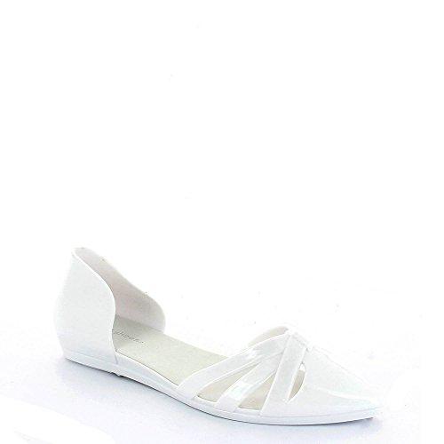 Ideal Shoes Ballerinas Kunststoff Naty Weiß