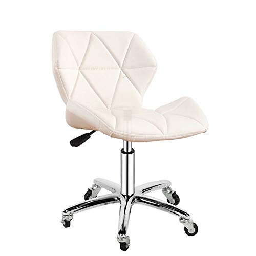 (LJHA Swivel Chair, Student Small Computer Chair Lifting Swivel Chair PU Backrest Lounge Chair Office Chair Bar Chair - 7 Colors Leisure Chair (Color : White, Size : Five-Star Base))