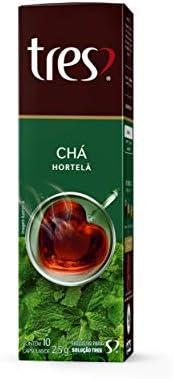 Cápsula de Chá, Hortelã, 10 Unidades, Tres, 3 Corações