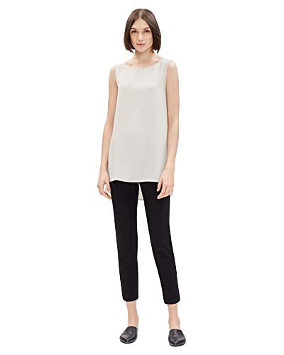 Eileen Fisher Long Silk - Eileen Fisher Bone Silk Georgette Crepe Long Shell M