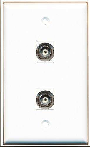 RiteAV - 2 Port BNC Wall Plate - Bracket - Keystone Module Bnc