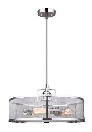 CANARM LTD ICH626A03BN20 Beckett 3 Bulb Rod Chandelier, Brushed Nickel with Metal Mesh Shade, 3 Light - Contemporary with a vintage twist in a Brushed Nickel finish Metal mesh shade Uses 3- 100W Type a bulbs (not included) - designed for filament style bulbs - kitchen-dining-room-decor, kitchen-dining-room, chandeliers-lighting - 311h42sX5jL -