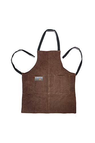Outset F240 Leather Grill Apron, 0.25 x 26.5 x 29.75 inches, - Logo Bbq Apron
