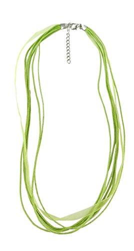 Linpeng AL-1- Lt.Green Multi-Strand Waxed Cord Ribboned Necklace