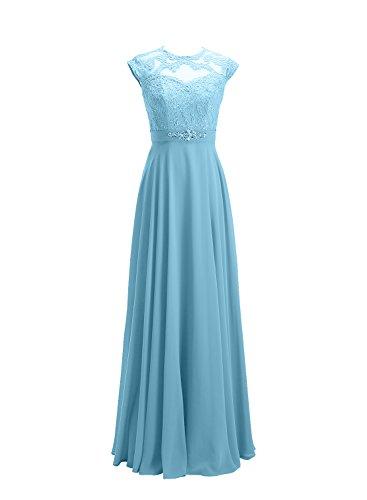 Longue mancherons Demoiselle Robe Bleu de Azur d'Honneur Alagirls Applique Mousseline Dentelle x74Inw