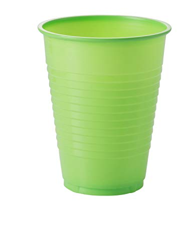 Exquisite 12 oz Lime Green Plastic Cups II 50 Count Bulk Pack Disposable Party Cups II Premium Quality Plastic Tumblers for Parties