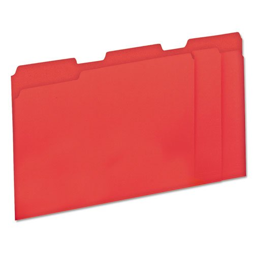 Universal Products - Universal - Colored File Folders, 1/3 Cut, One-Ply Top Tab, Letter, Red/Pink, 100/Box - Sold As 1 Box - Bright color outside, lighter color inside-great for color-coding and preventing misfiles. - High-quality 11 pt. stock resists tearing. - Bottom triple-scored for 1