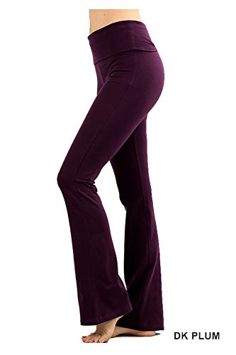 Cotton Bootcut Trousers (Zenana Premium Cotton FOLD Over Yoga Flare Pants,Dk Plum,Large)