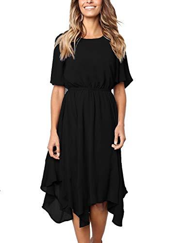 MISSLOOK Women's Short Sleeve Midi Dress Empire Waist Summer Chiffon Dress Round Neck Asymmetrical Irregular Hem Dress - Black XXL