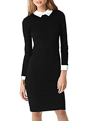 Miusol Women's Formal Polo Neck Long Sleeve Slim Business Pencil Dress