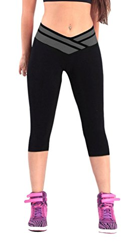 iLoveSIA(TM) Womens Tights Capri Legging Black Grey US Size XL